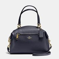 Coach Prairie Satchel In Polished Pebble Leather Light Gold Navy
