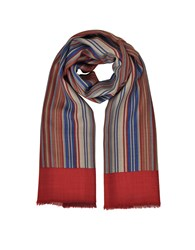 Laura Biagiotti Men's Scarves Stripes Printed Wool Silk And Cashmere Long Scarf