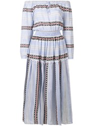 Lemlem Striped Off Shulder Dress Blue