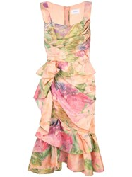 Marchesa Printed Ruffle Dress Pink
