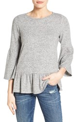 Gibson Women's Cozy Fleece Peplum Top Light Grey