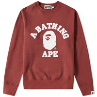 A Bathing Ape College Crew Sweat Red