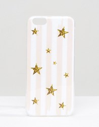 Signature Stripe Print Iphone 6 Case With Glitter Stars Glitter Stars Pink