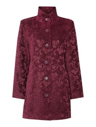 Tigi Leaf Print Coat Purple