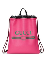 Gucci Print Leather Drawstring Backpack Leather Pink Purple