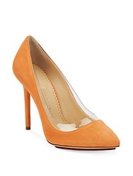 Charlotte Olympia Party Monroe Suede Pumps Orange