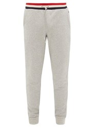 Moncler Tricolour Waistband Cotton Track Pants Grey