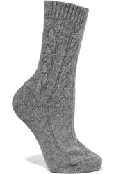 Johnstons Of Elgin Cable Knit Cashmere Socks Gray