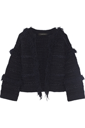 Thakoon Fringed Stretch Linen Blend Cardigan