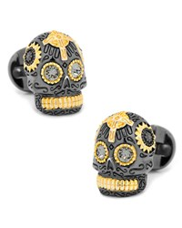 Cufflinks Inc. 3D Day Of The Dead Sugar Skull Cuff Links Black Gold Black Gold