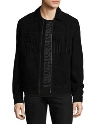 Ovadia And Sons Suede Jacket W Fringe Black