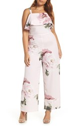 Leith Stripe Jumpsuit Pink Silver Rose Floral