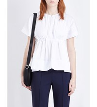 Victoria Beckham Empire Waist Cotton Poplin Top White
