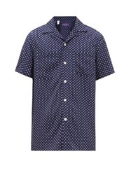 Ralph Lauren Purple Label Polka Dot Cuban Collar Poplin Shirt Navy White