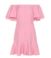 Valentino Virgin Wool And Silk Crepe Off The Shoulder Dress Pink