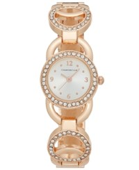 Charter Club Women's Rose Gold Tone Pave Link Bracelet Watch 24Mm Only At Macy's