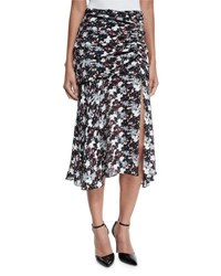 Veronica Beard Madison Floral Silk Midi Skirt Black Navy Red White Blk Navy Red Wht
