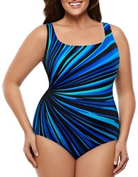 Longitude Plus Zenon Striped One Piece Swimsuit Aqua
