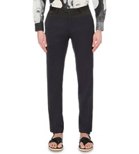 Dries Van Noten Prise Silk Panel Regular Fit Trousers Nav