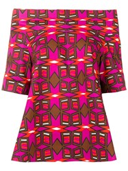 Aspesi Geometric Print Off Shoulder Blouse Pink