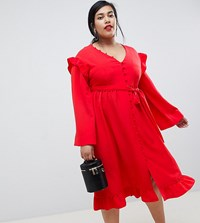 Lost Ink Plus Midi Tea Dress With Frill Sleeve And Tie Waist Red