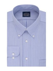 Eagle Regular Fit Striped Dress Shirt With Stretch Collar Periwinkle