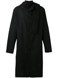 Yohji Yamamoto Attached Scarf Midi Coat Men Cotton Linen Flax Iv Black