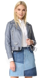Acne Studios Mock Leather Moto Jacket Dirty Slate Blue
