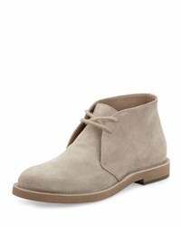 Brunello Cucinelli Men's Suede Desert Boot Beige