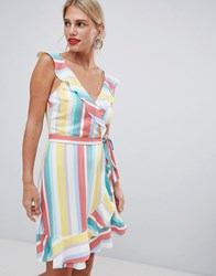 Oasis Rainbow Stripe Tea Dress Multi