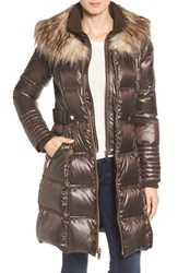 Via Spiga Women's Quilted Coat With Faux Fur Trim Brown