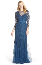 Adrianna Papell Embellished Illusion Yoke Mesh Gown Deep Blue