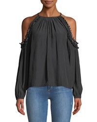Ramy Brook Anne Beaded Cold Shoulder Blouse Black