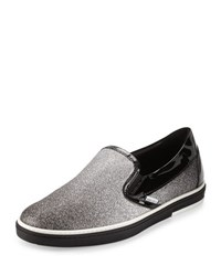 Jimmy Choo Grove Men's Glittered Slip On Sneaker Black Silver
