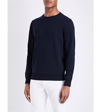 Sandro Crewneck Cotton And Wool Blend Jumper Navy Blue