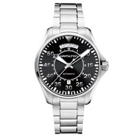 Hamilton H64615135 Men's Khaki Aviation Pilot Day Date Automatic Bracelet Strap Watch Silver Black