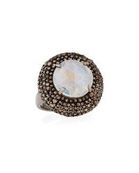 Bavna Rainbow Moonstone And Champagne Diamond Round Cushion Cocktail Ring Size 7