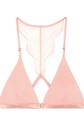 I.D. Sarrieri Histoire Des Femmes Chantilly Lace Trimmed Jersey Soft Cup Triangle Bra Pastel Pink