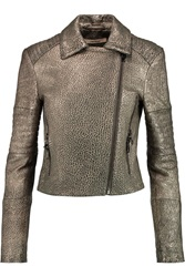 J Brand Aiah Metallic Textured Leather Biker Jacket
