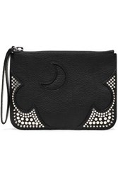 Mcq By Alexander Mcqueen Cutout Studded Pebbled Leather Pouch Black