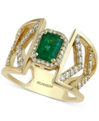 Effy Collection Effy Emerald 1 Ct. T.W. And Diamond 1 2 Ct. T.W. Ring In 14K Gold Green