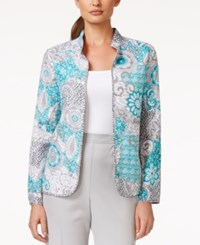 Alfred Dunner Open Front Printed Jacket