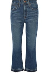 Madewell Cropped Frayed Mid Rise Flared Jeans Dark Denim