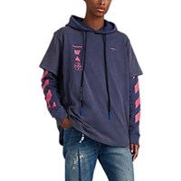 Off White C O Virgil Abloh Mariana Cotton Layered Hoodie Blue