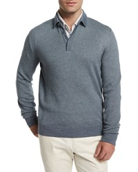 Loro Piana Cashmere Silk Long Sleeve Polo Sweater Storm Blue