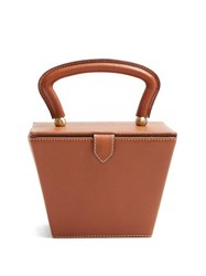Staud Sadie Mini Leather Box Bag Tan