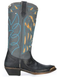 Golden Goose Deluxe Brand Stitched Texan Boots Black