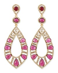 Bavna 18K Rose Gold Pink Tourmaline And Diamond Teardrop Earrings