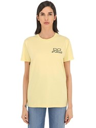 Courreges Logo Print Cotton Jersey T Shirt Yellow