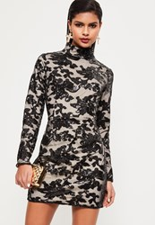 Missguided Black Sequin Lace Bodycon Dress